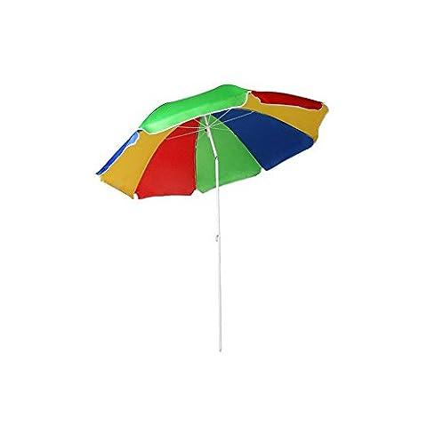 Parasol centrée multi couleur pour plage, jardin, terrasse diamètre 200cm, Toile en nylon Hydrofuge -PEGANE-