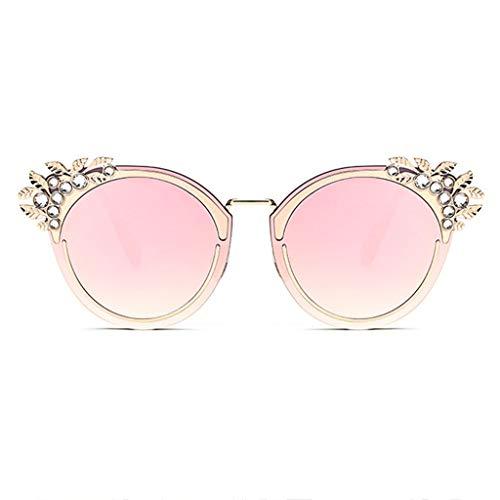 WYJW Der Kristallrhinestone der Sonnenbrille Frauen blenden bunten Metallrahmen, Einkaufen/Golf/Fahren/Reisen, Schutz UV400