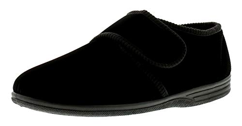diabétique Orthopédique Pour Homme Easy Close Large Fixation Tactile Près Barre de Sangle Chaussure Chausson - Black Plain