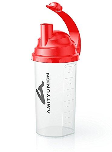 Eiweiß Shaker 800 ml & Sieb - Fitness Mixer Auslaufsicher - Tropfdicht 100% Dicht ohne auslaufen - BPA frei mit Skala für cremige Bodybuilding Whey Proteinpulver Shakes und Gym Isolate in Rot Classic