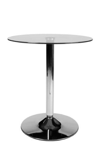 CLP Glas-Tisch rund Durchmesser Ø 60 cm, Höhe 70 cm, Bistrotisch Metall-Säule Chrom, Tischplatte Sicherheitsglas klarglas
