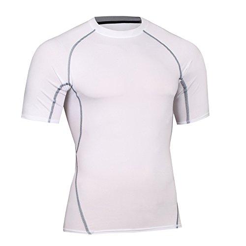 Bwiv maglia compressione uomo maniche corte asciugatura rapida maglia da sport bianco l