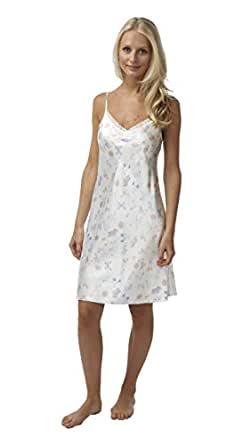 BHS Ladies Short Satin Butterfly Chemise with Lace Trim in Ivory Sizes 8 - 22 (8)