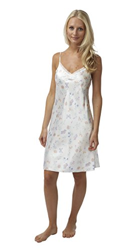 BHS Ladies Short Satin Butterfly Chemise with Lace Trim in Ivory Sizes 8 - 22