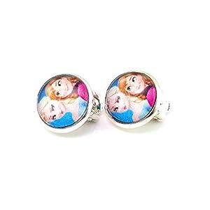Stechschmuck Ohrclips Handmade Anna und Elsa Frozen Silber Farben Damen Kinder Kitsch Kawaii 14mm 1 Paar Nickelfrei