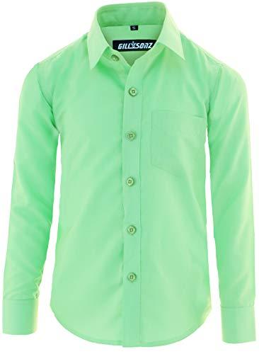GILLSONZ GA1 vDa Kinder Party Hemd Freizeit Hemd bügelleicht Lange Arm mit 11 Farben Gr.86-176 (158/164, Apfelgrün)
