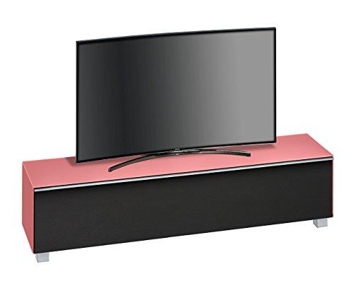 lifestyle4living TV-Lowboard TV-Board mit Klappe und 5 Füßen. Glaskorpus in Hibiskus matt und Akustikstoff in schwarz. Maße: B/H/T ca. 180,2/43,3/42 cm