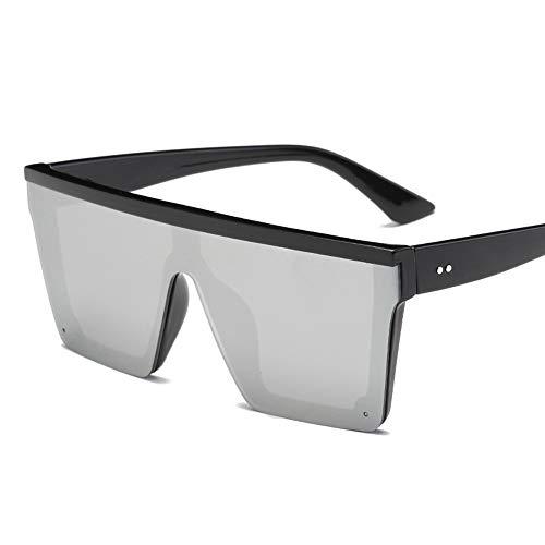 QDE Sonnenbrillen Übergroße Quadratische Sonnenbrille Männer Frauen Flat Top One Piece Objektiv Sonnenbrille Für Frauen Shades Spiegel, Silber