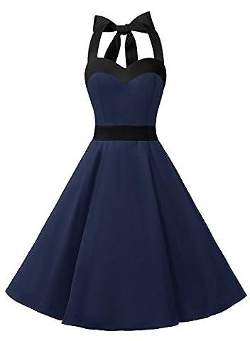Dresstells Neckholder Rockabilly 50er Vintage Retro Kleid Petticoat Faltenrock Navy Black XL