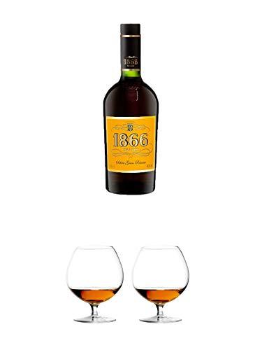 1866 Brandy Gran Reserva 0,7 Liter + Cognacglas/Schwenker Stölzle 1 Stück - 103/18 + Cognacglas/Schwenker Stölzle 1 Stück - 103/18