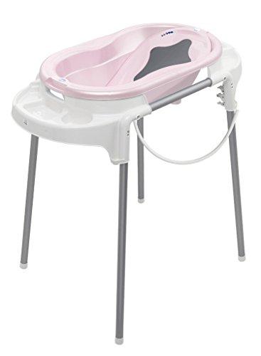 Rotho Babydesign Badeset mit Wanne und höhenverstellbarem Funktionsständer, 0-12 Monate, Tender rosé pearl (Rosa), TOP Badestation, 21042000101