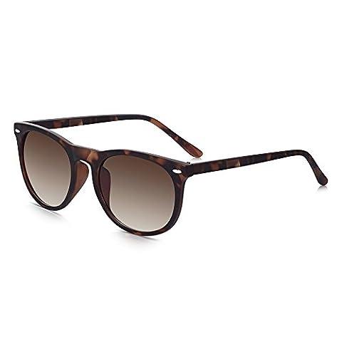 Sunglass Junkie Prep School Round Sunglasses. 100% UV Protection. Classic Tortoise-shell for Men and Women. Virtually Unbreakable Matt Crystal Polycarbonate Full Frame & Brown Gradient UV400