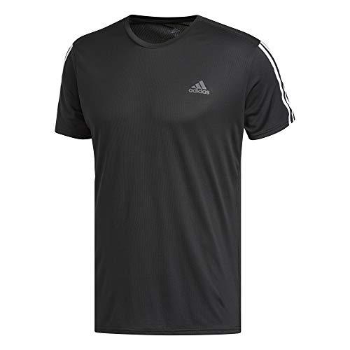 adidas Herren Run 3S Tee M T-Shirt, Black/White, XL -