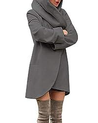 ACHIOOWA Mantel Damen Revers Langarm Offen Abgerunderter Wool Kapuzen Cardigan Einfarbig mit Taschen Grau-A01482 M