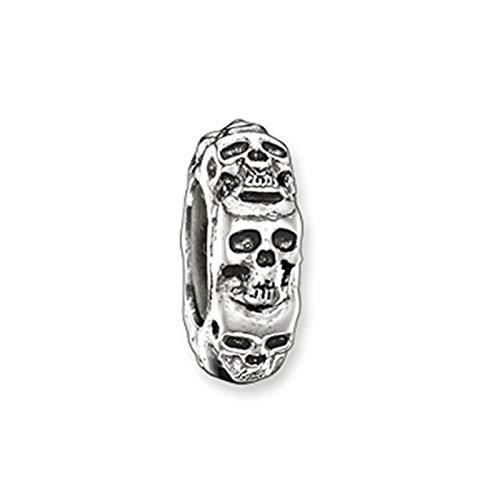 Thomas Sabo Damen Stopper für Kette Armband Karma Beads 925 Sterling Silber geschwärzt Silikon KS0008-648-12