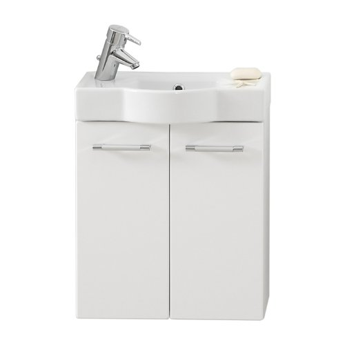 Quentis Cordoba 50, Gäste WC Set 2-teilig, Keramikwaschbecken und Unterschrank, weiß glänzend