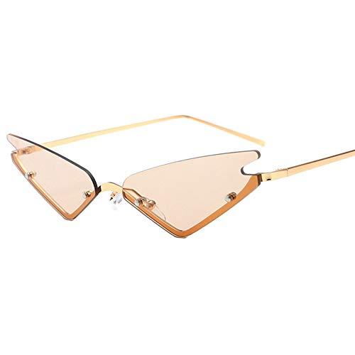 Unbekannt Uv400 Cat Eye Sonnenbrille Spitzen Dreieck Sonnenbrille Multicolor Optional Kleine Randlose Dreieck Sonnenbrille Männer Frauen Mode Spiegelgläser,C