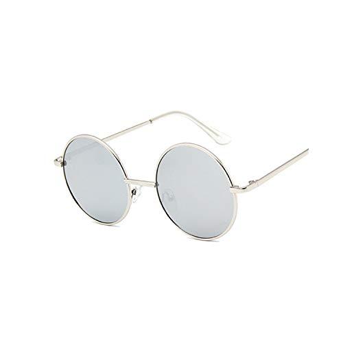 Sportbrillen, Angeln Golfbrille,Retro Round Sunglasses Women Luxury Brand Designer Vintage Small Unisex Metal Frame Color Lenses Sun Glasses Female Oculos UV400 SilverSilver