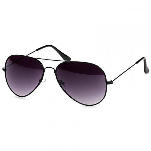 Caspar SG032 Unisex Classic RETRO Design Pilotenbrille Sonnenbrille, Farbe:schwarz/schwarz getönt