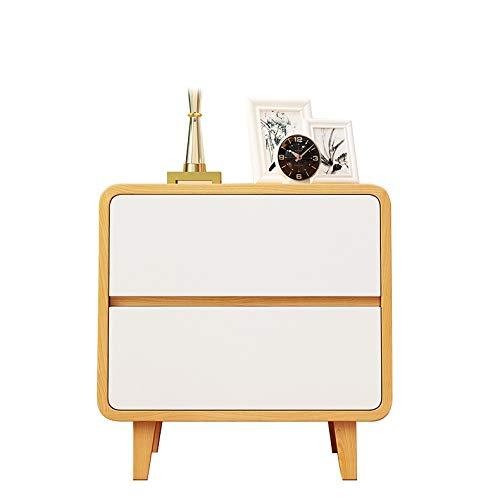 YONG FEI Nachttisch, Doppelschubladenpresse Rebound Holzfarbe gerundet grün Schlafzimmer Nachttisch, geeignet für: Wohnzimmer/Schlafzimmer/Arbeitszimmer, 50x35x50cm Nachttische - Schlafzimmer Metall-schlitten Bett
