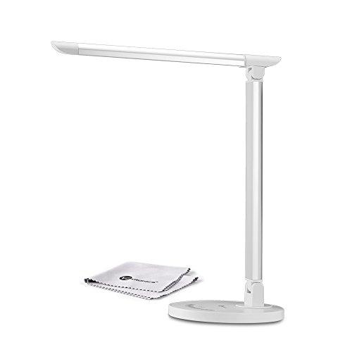 TaoTronics 12W Schreibtischlampe LED Tischleuchte 5 Farb- und 7 Helligkeitsstufen dimmbar Touchfeldbedienung USB-Anschluss für Aufladung des Smartphones Weiß