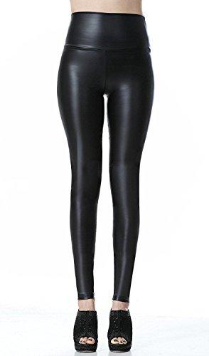 brillante elegante pantalones mujer largos Leggings pantalones de cuero estilo para mujer leggins casual (M)