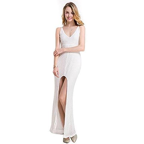 Sling robe de soirée licol V-cou des femmes habillées pointes fourchues robe en dentelle , white ,