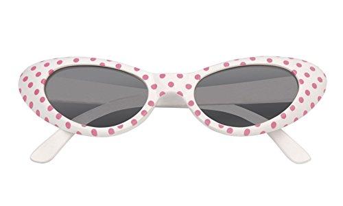 Karnevalsbud - Kostümbrille 50er Brille Punkte Kostüm Sonnenbrille, Creme