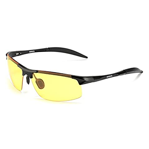 HD Driving Glasses Polarized Anti-glare Rain Day Night Vision Sunglasses Black Colour - With Gift Box