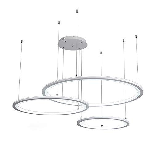 LED 3 Ring Kreativ Design Pendelleuchte Weiß Wohnzimmer Dekoration Hängeleuchte Modern Minimalistisch Esszimmer Esstisch Küche Fernbedienung Dimmbar Kronleuchter Ringlampe Ø40+60+80cm 70W