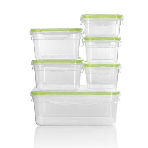 Gourmetmaxx klick-it contenitori per alimenti, plastica senza bpa, trasparente/verde, 14 parti 4 unità