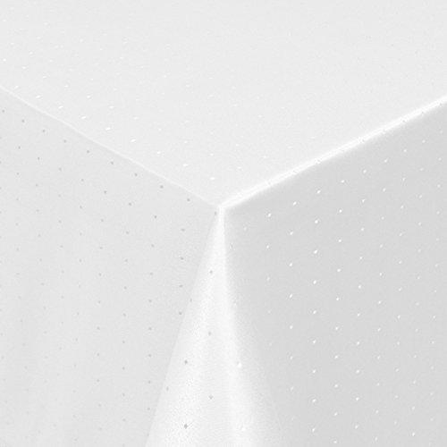 Tischdecke Damast Punkte mit Saum, Eckig Oval Rund Größe und Farbe wählen - Premium Qualität - Ertex (Eckig 130x190cm, Weiß)