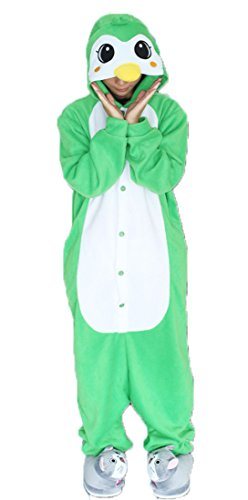 Honeystore Unisex Pinguin Kostüm Erwachsene Tier Jumpsuits Onesie Pyjamas Nachthemd Nachtwäsche Cosplay Overall Hausanzug Fastnachtskostüm Karnevalskostüme Faschingskostüm Kapuzenkostüm GrünL (Schnelle Und Einfache Last Minute Kostüme)
