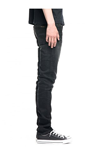 Nudie Jeans Herren Jeans mit Geradem Bein Grim Tim deep black worn