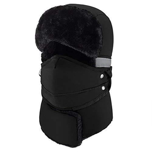 mysuntown Herren winter winddicht warm hat & trapper ushanka hut, mütze warm hatsdraussen skifahren sport einheitsgröße schwarz -