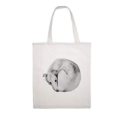 Cotton Canvas Tote Bag Whippet Curling Up To Sleep Shoulder Grocery Shipping Bags Cloth Shopping Bag -