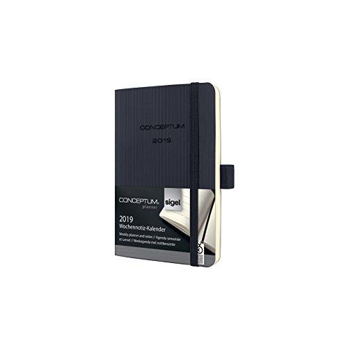 Sigel C1925 Wochennotiz-Kalender 2019, ca. A6, schwarz, Softcover CONCEPTUM - weitere Modelle
