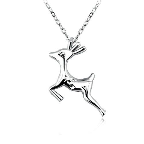 Preisvergleich Produktbild FunYoung FunYoung Halskette mit Rehkitz Anhänger aus 925 Silber (Hirsch)