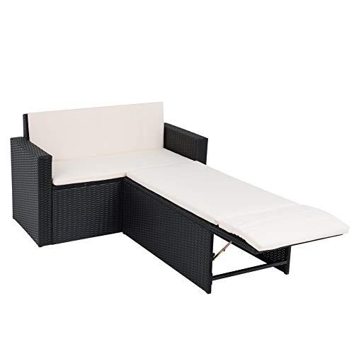 ESTEXO 2-Sitzer Rattan Gartenbank mit Fußablage Ottomane schwarz