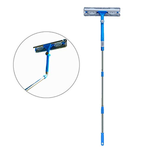 Iku kit lavavetri telescopico 3-in-1 (145cm) con testa tergivetri a 180°, manico estensibile, panni in microfibra (2), scanalature spazzola - vetrella lavavetri lungo per finestre, doccia, auto (blu)
