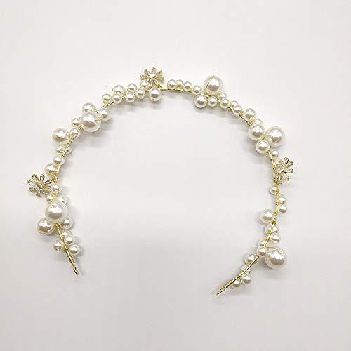 koreanische Schmuck Perle Haarband, Braut Haarnadeln, handgemachte Hochzeit Stirnband Tiara für Brautjungfer, Live-Übertragung, Prom, Geburtstag,White ()