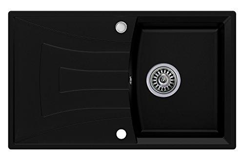 Évier granit Primagran, Noir, 1 bac, avec siphon automatique, évier de cuisine
