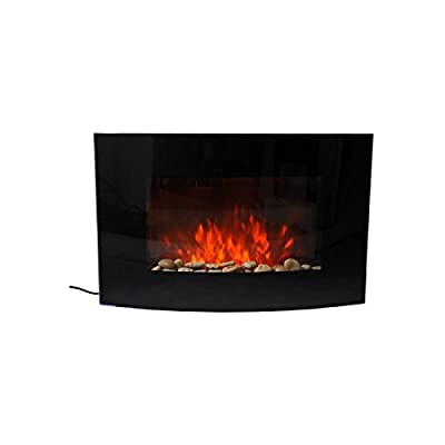 Wall Mounted Curved Glass Electric Fireplace with 2 Heat Settings (Finish: Black, Material: Other/Glass)