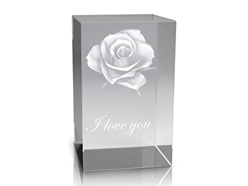 VIP-LASER 3D Glaskristall Quader XL Rose in 3D mit Text I love you graviert
