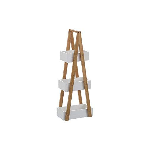 Lola Home Estantería Blanca bambú 3 cestas nórdica