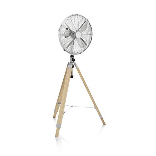 Tristar VE-5804 - Ventilador de pie, 40cm, trípode de madera, color plata