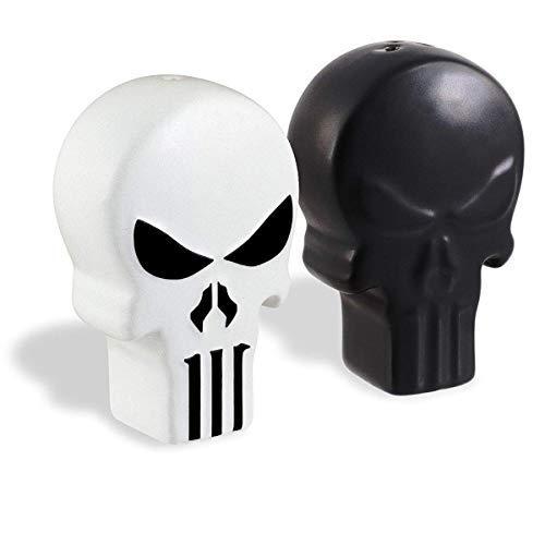 Unbekannt Marvel The Punisher Black & White Skull Logo Ceramic Salt & Pepper Shaker Set Logo Shaker Set