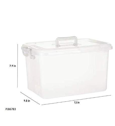 Now & Zen 23 Litre Multipurpose Plastic Stackable Organizer Storage Container Box with Lid & Handle for Cloth, Rice, Books, Toys, Flour, Liquid - Clear, Pack of 2