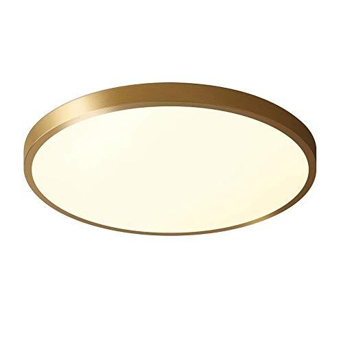 Xungzl 24W Ultra-dünne Lampe runde LED Deckenleuchte Messing Gold Bad 30CM Deckenleuchte Einbau, geeignet for Badezimmer Schlafzimmer Küche Korridor Dreifarbenraumlicht lebt (Color : Tri-Tone Light)