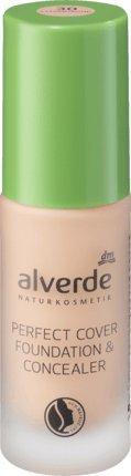 Alverde cosmétique naturel Perfect Cover Foundation & Concealer Champagne 30, 20 ml, végétalien